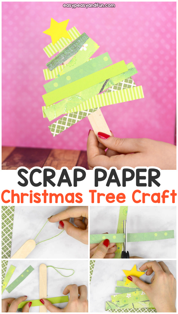 Scrap Paper Christmas Tree Craft. Fun Christmas activity for kids to make as this can either be a craft, ornament or decoration.