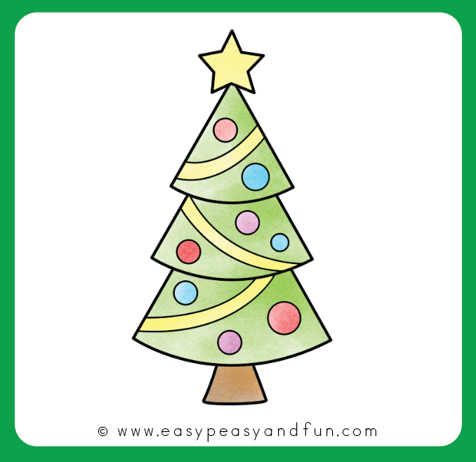 Easy To Draw Christmas Tree.How To Draw A Christmas Tree Step By Step Drawing Tutorial