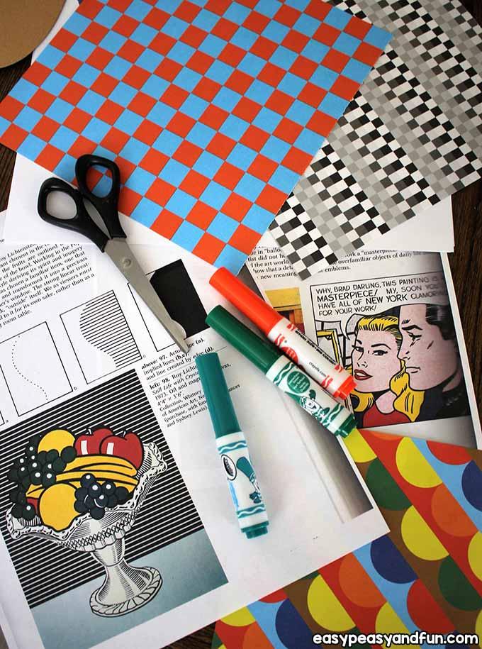 Supplies for Lichtenstein Mixed Media Art