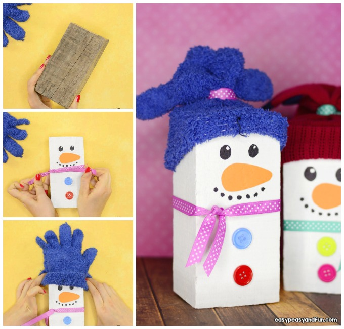 Wood Block Snowman Craft Idea for Kids to Make