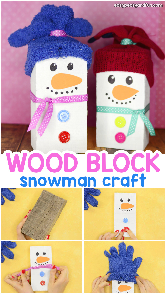 Wood Block Snowman Craft for Kids - cute Christmas craft idea to make as it's a great DIY decoration for your home or outdoors.