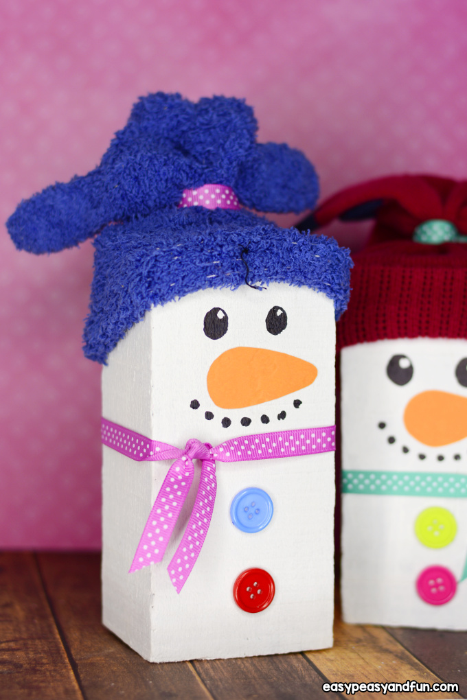 Wood Block Snowman Craft for Kids