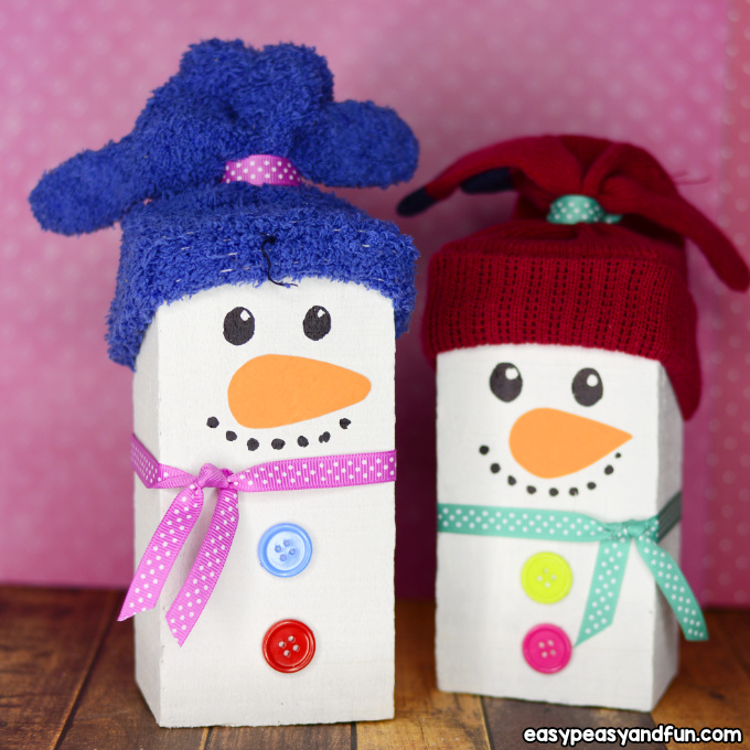 Wood Block Snowman Craft Idea for Kids