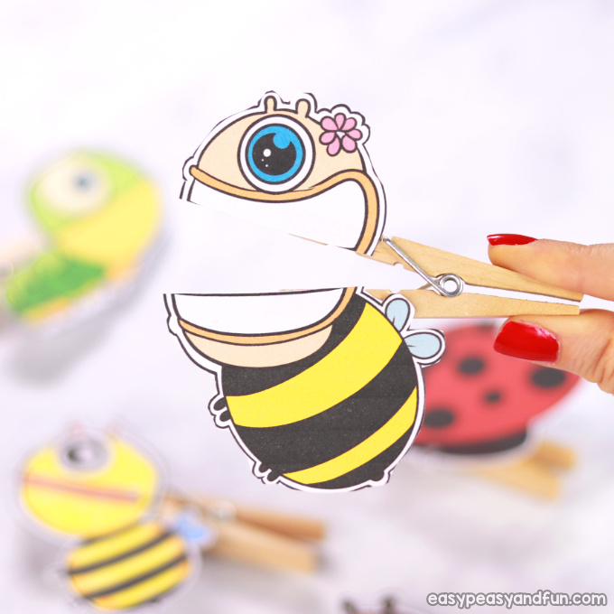 Bee Clothespin Paper Puppet
