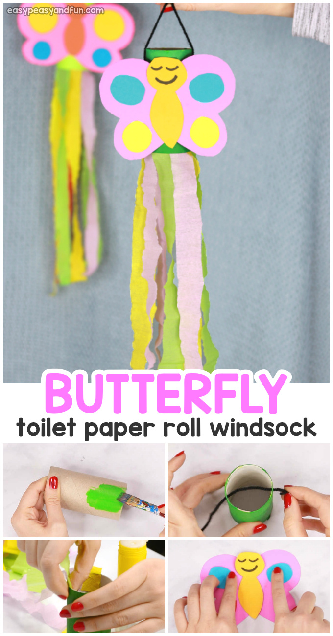 Butterfly Windsock Toilet Paper Roll Craft for Kids - Butterfly craft idea for kids to make.