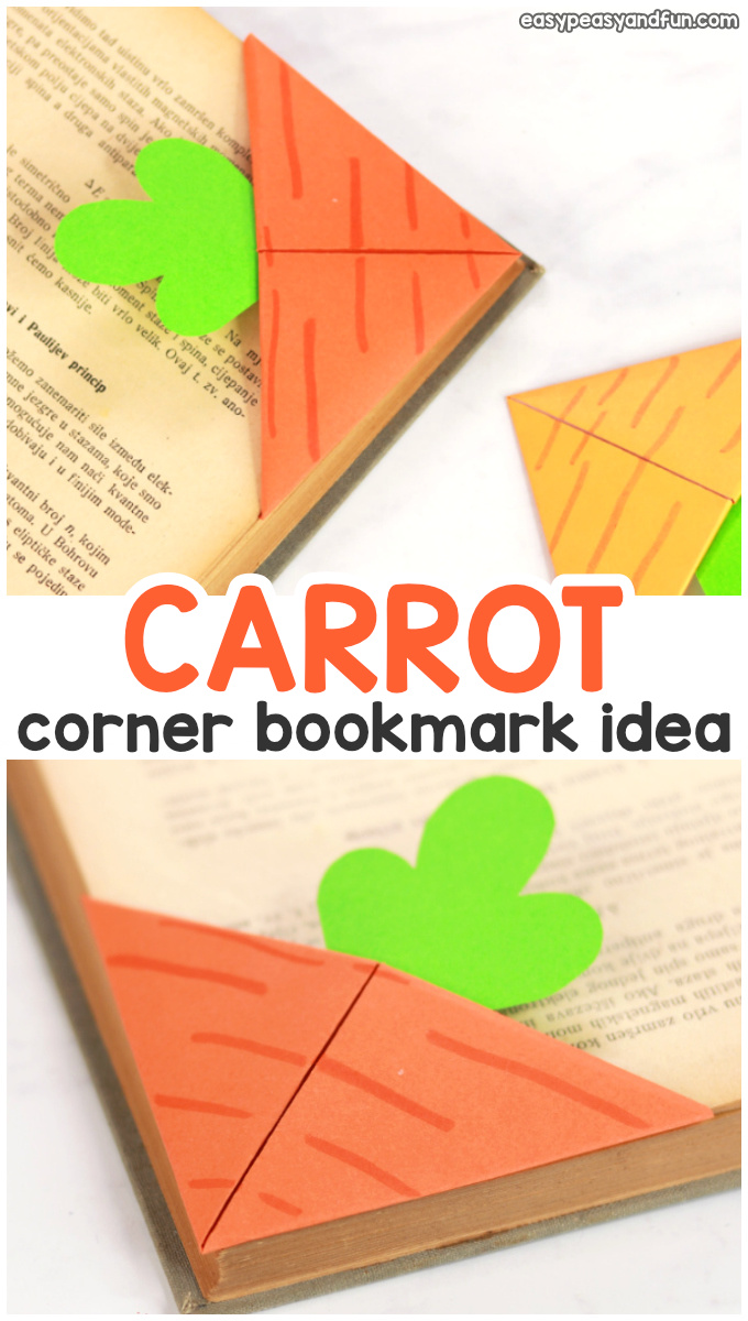 Carrot Corner Bookmark Idea for Kids