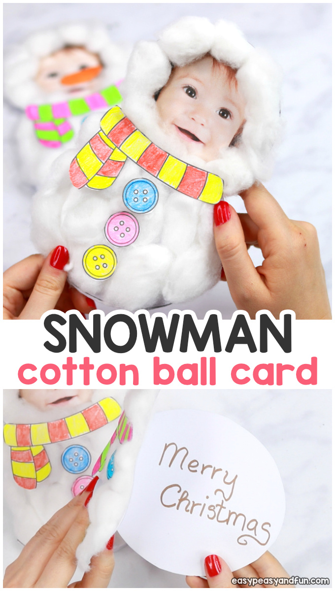 Cotton Ball Snowman Craft for Kids - DIY Christmas Card With Printable Template