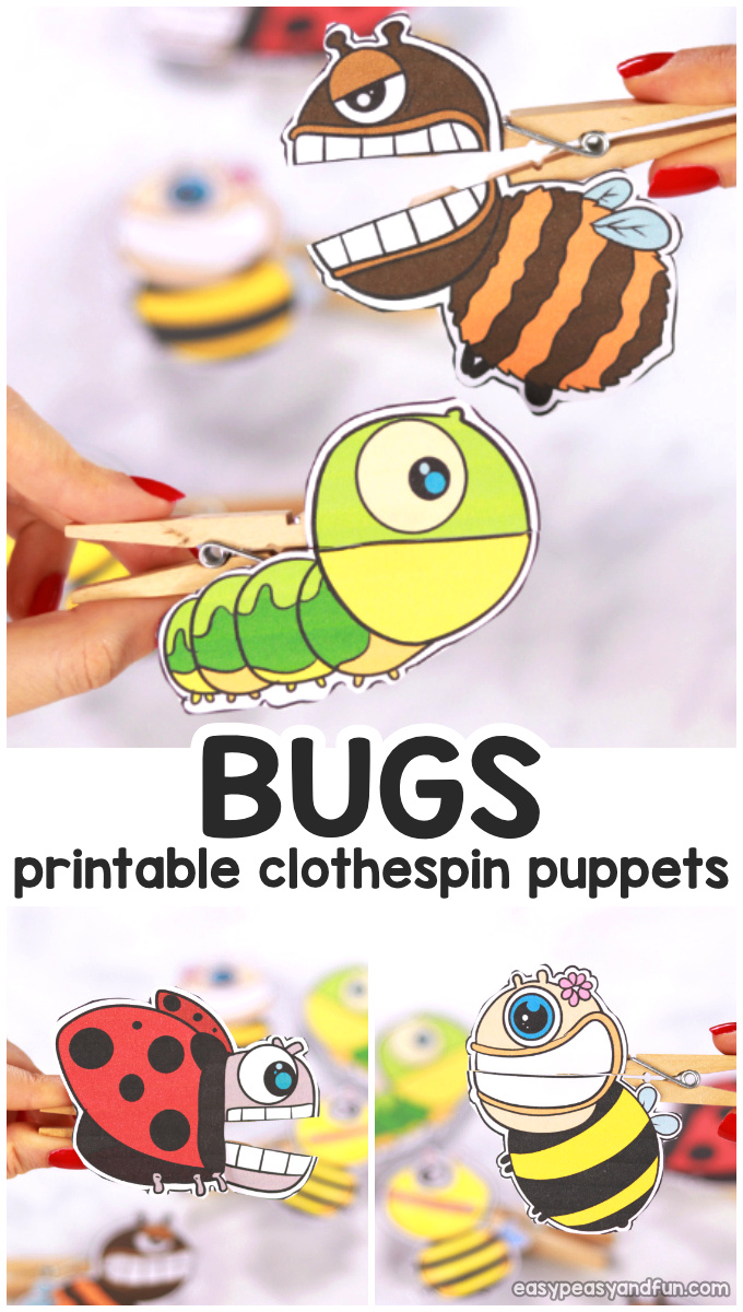 DIY Bugs Clothespin Puppets for Kids - Clothespin Crafts. This is a cool spring craft for kids to make.