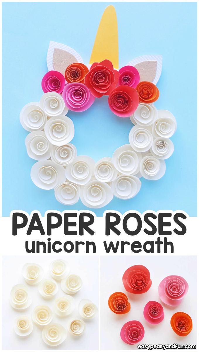 DIY Paper Roses Unicorn Wreath Idea for Kids