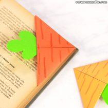 DIY Carrot Corner Bookmark – Origami Bookmarks