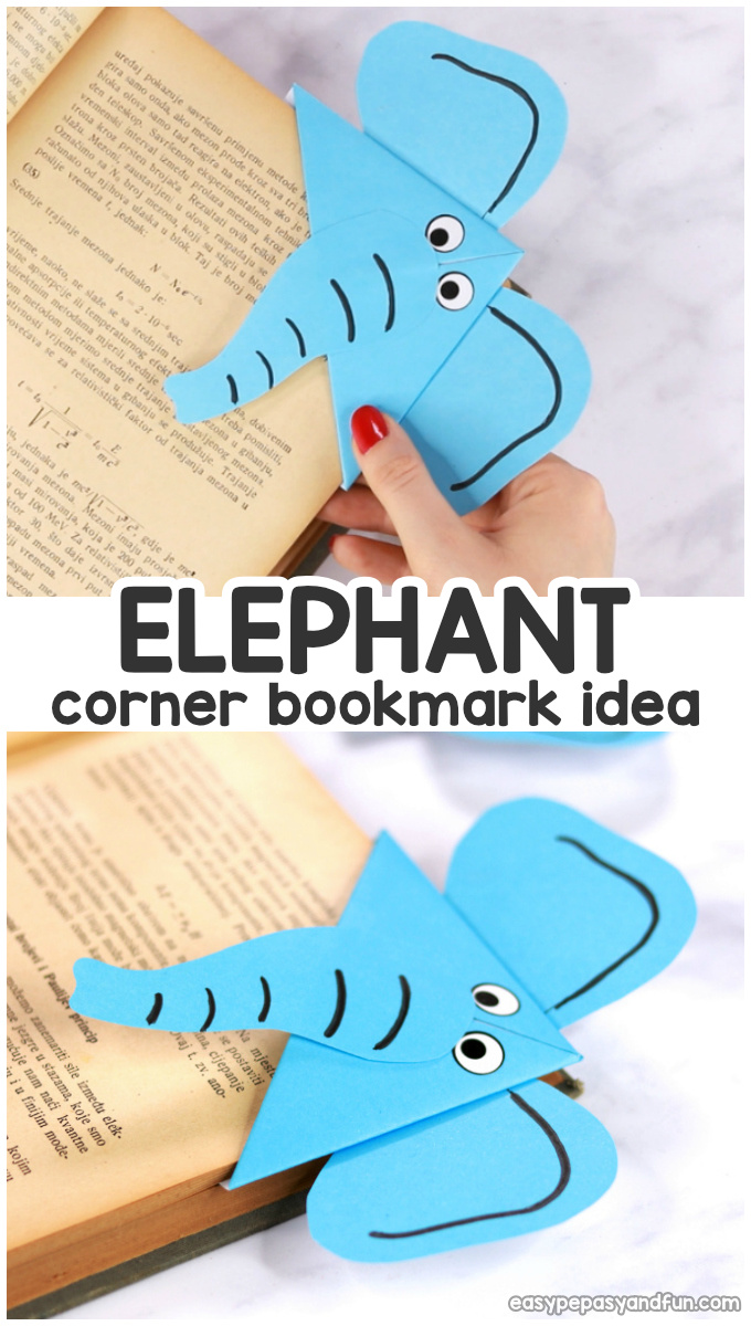 Elephant DIY Corner Bookmark Idea for Kids