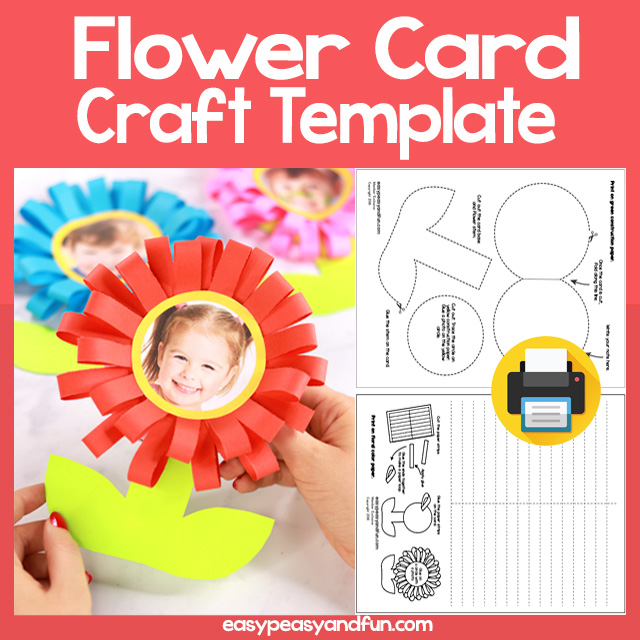 Flower Card Craft Template - Mothers Day Card Kids can Make