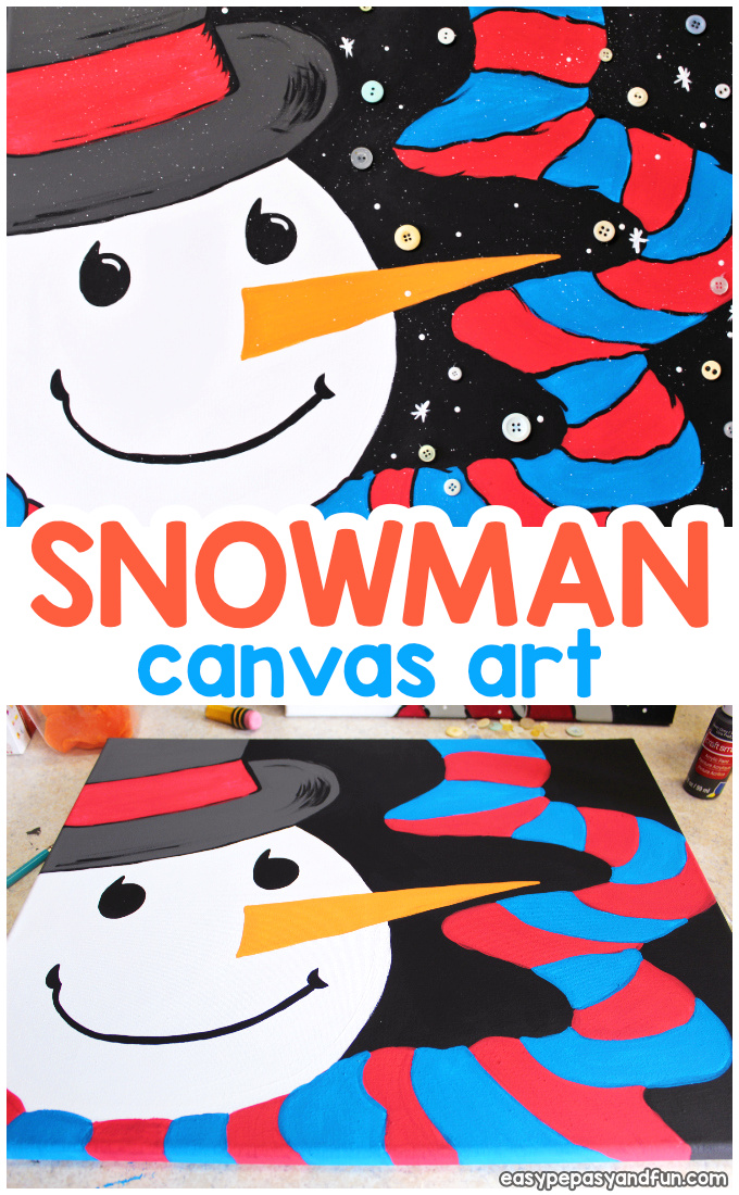 How to Paint a Snowman Canvas Art Idea for Kids - Acrylic Paining for Beginners