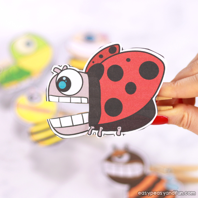 Ladybug Clothespin Paper Puppet
