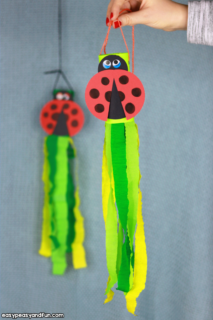 Ladybug Windsock Toilet Paper Roll Craft