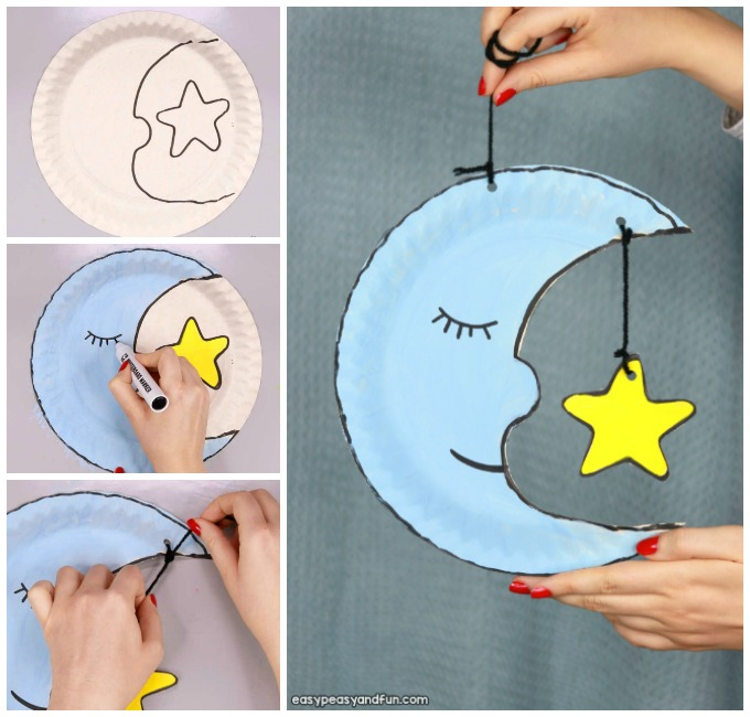Moon Paper Plate Craft Idea