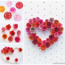 Paper Roses Heart Craft for Kids – Valentines Day or Mothers Day