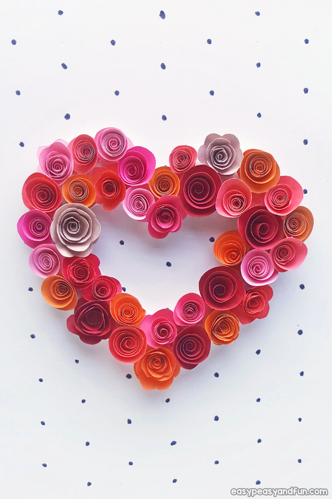 Paper Roses Heart Craft for Kids