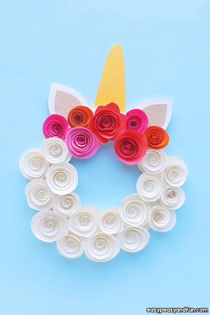 Paper Roses Unicorn Wreath Idea