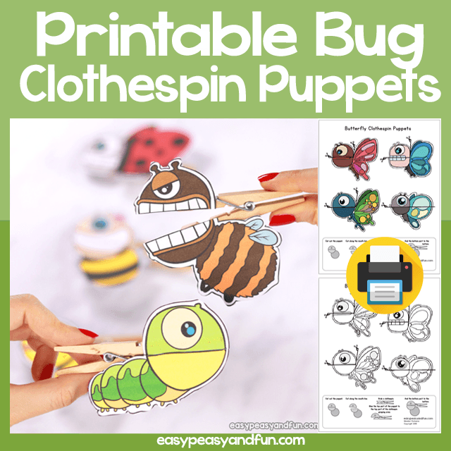 Printable Bug Clothespin Puppets