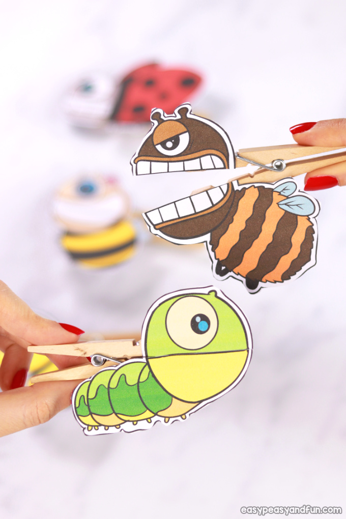 picture regarding Printable Bugs named Insects Clothespin Puppets - Simple Peasy and Pleasurable