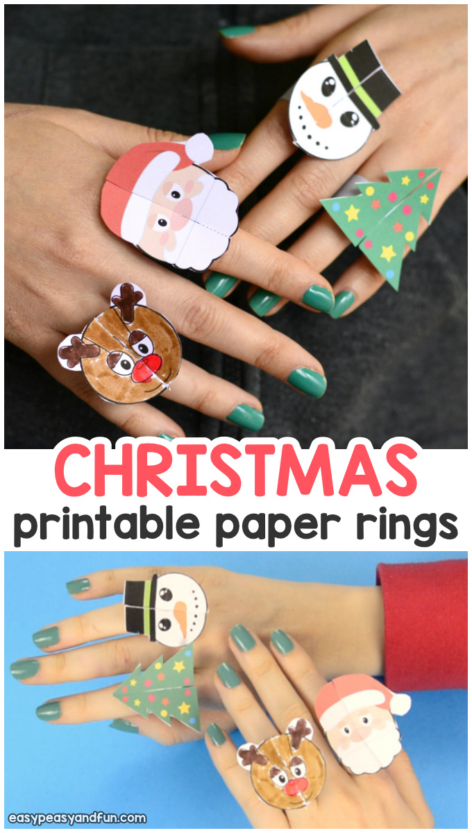 Printable Christmas paper ring for kids. Fun Christmas craft idea for kids to make.