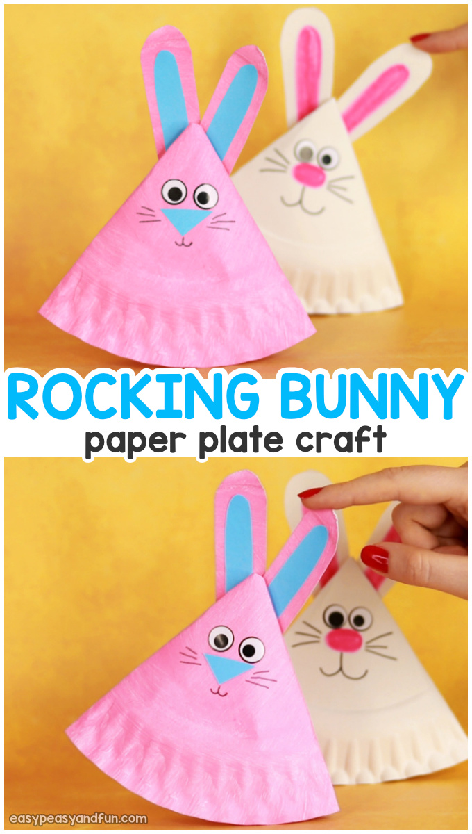 Rocking Paper Plate Bunny Craft for Kids - Easy Easter Craft for Kids to Make