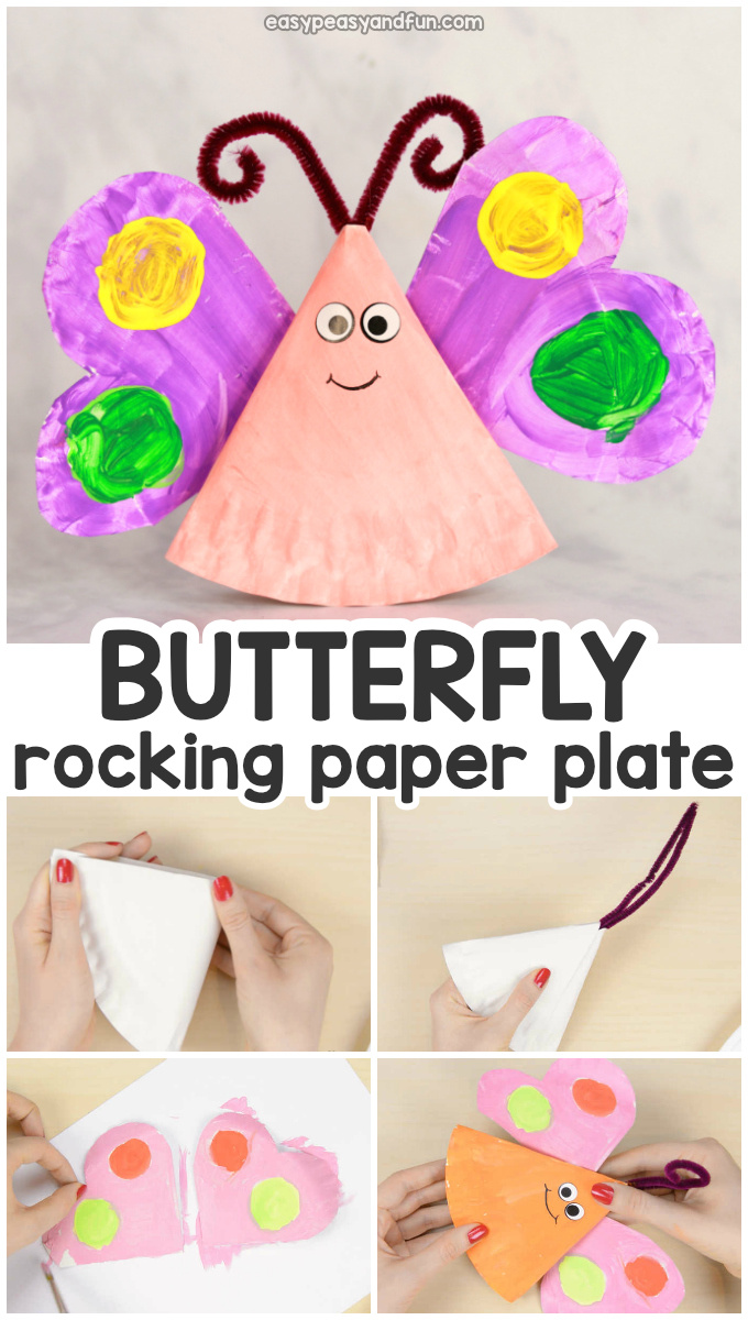 Rocking Paper Plate Butterfly Craft for Kids