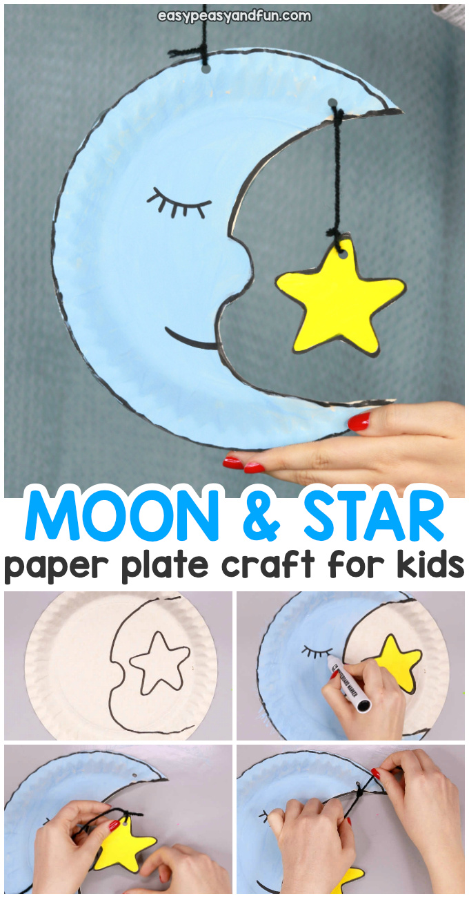 Simple Moon Paper Plate Craft for Kids