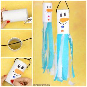 Snowman Windsock Toilet Paper Roll Craft