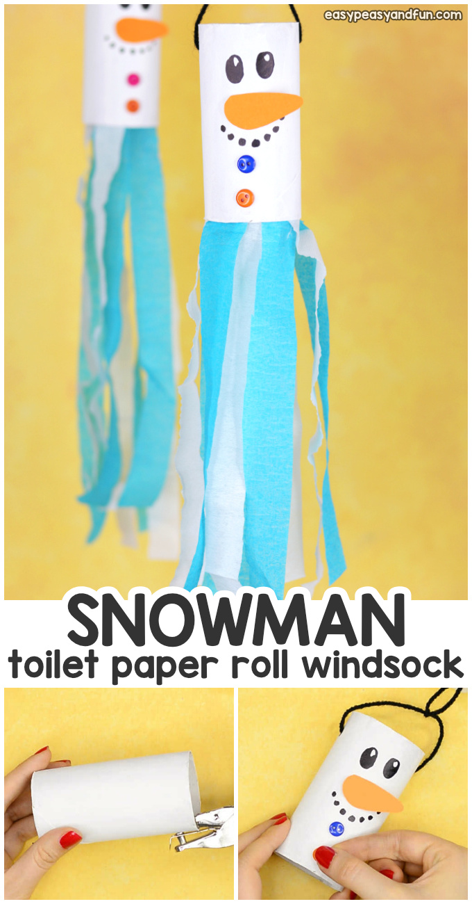 Snowman Windsock Toilet Paper Roll Craft for Kids