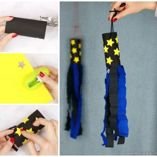 Space Windsock Toilet Paper Roll Craft Idea