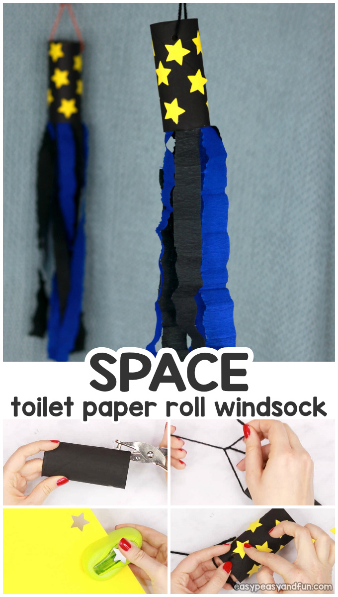 Space Windsock Toilet Paper Roll Craft for Kids