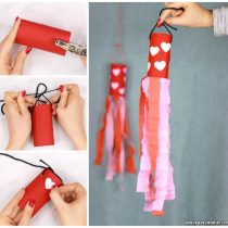 Valentines Day Windsock Toilet Paper Roll Craft