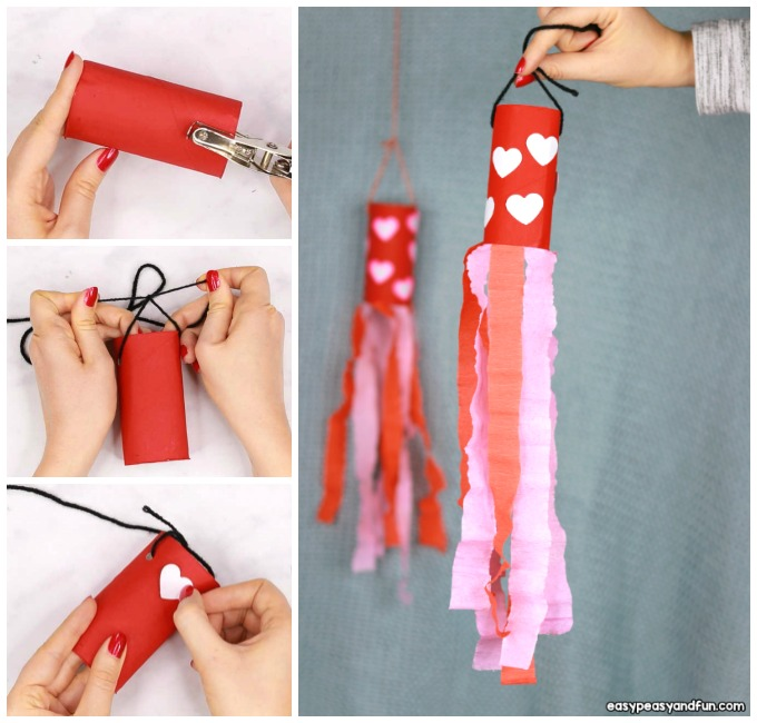 Valentines Day Windsock Toilet Paper Roll Craft Idea