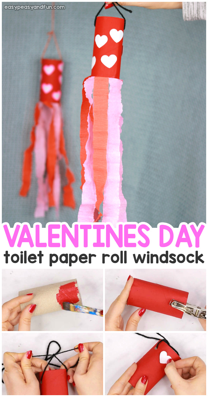 Valentines Day Windsock Toilet Paper Roll Craft for Kids