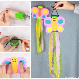 Windsock Butterfly Paper Roll Craft Idea