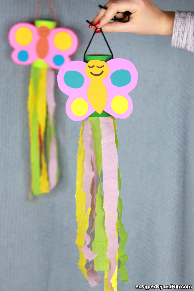 Windsock Butterfly Paper Roll Craft