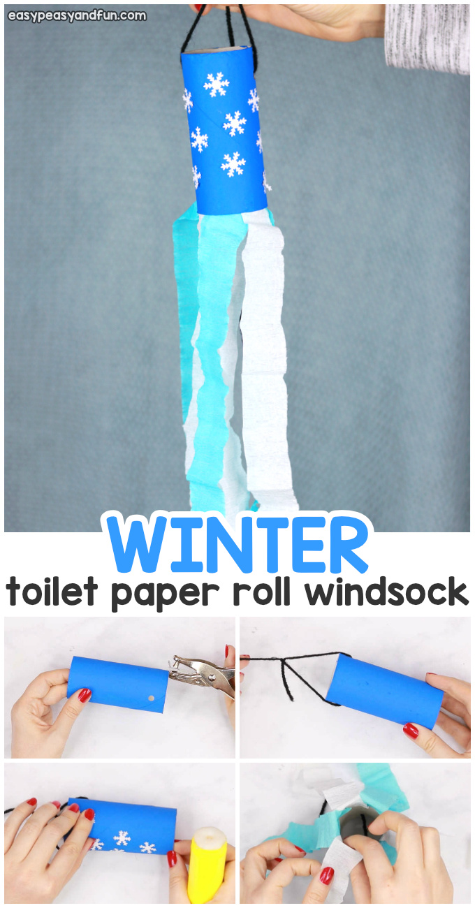 Winter Windsock Toilet Paper Roll Craft for Kids