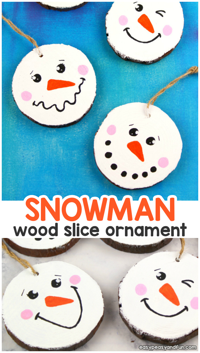 Wood Slice Snowman DIY Christmas Ornament Craft for Kids - This is a cool Christmas craft for kindergarten