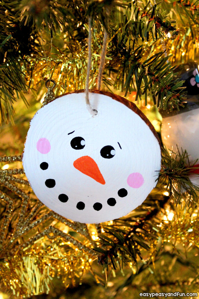 Wood Slice Snowman Ornament Craft