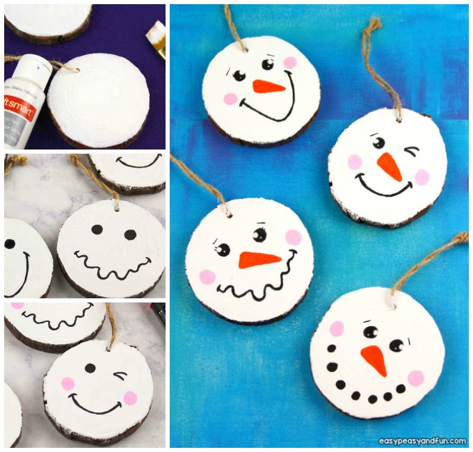 Wood Slice Snowman Ornament Idea for Kids
