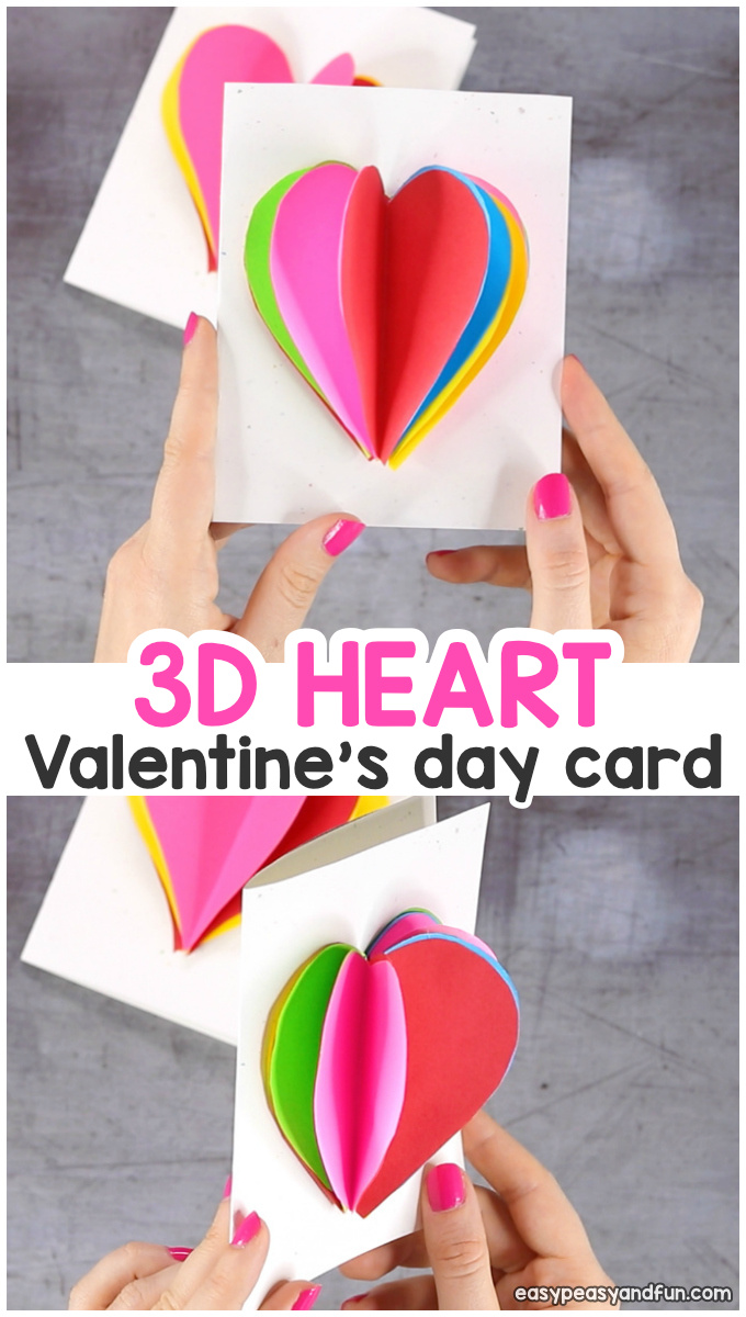 3D Heart Card Valentines Day Craft for Kids