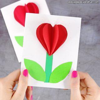 3D Heart Flower Card