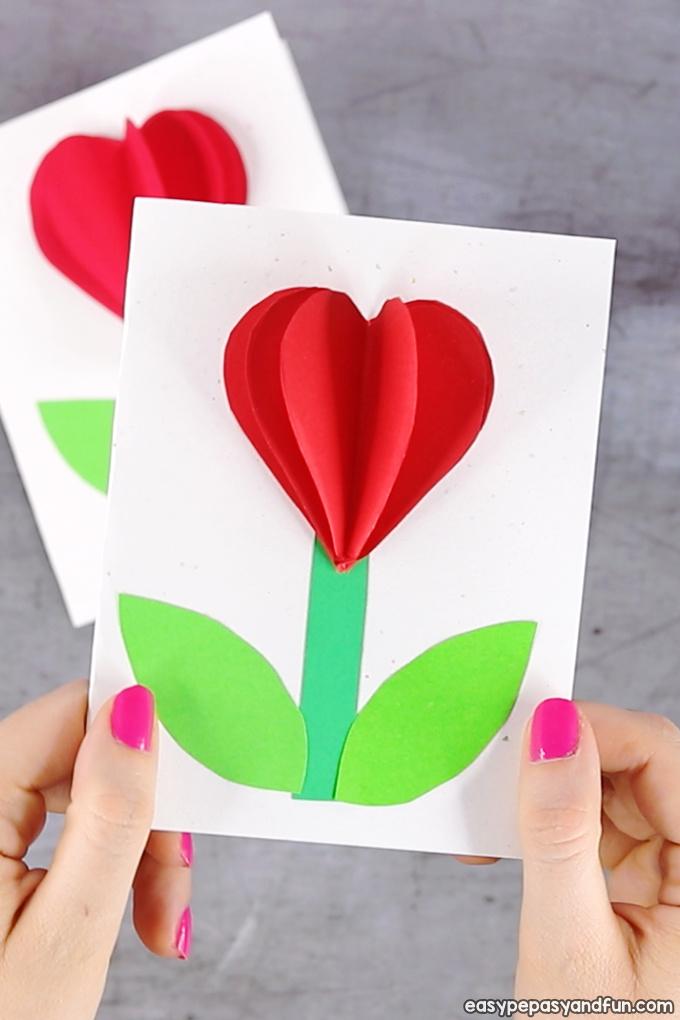 3D Heart Flower Card for Kids
