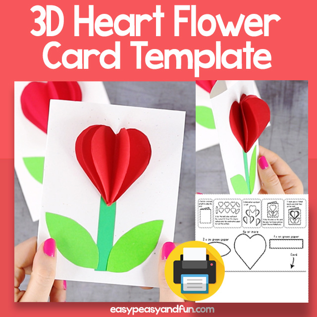 3D Heart Flower Craft Template