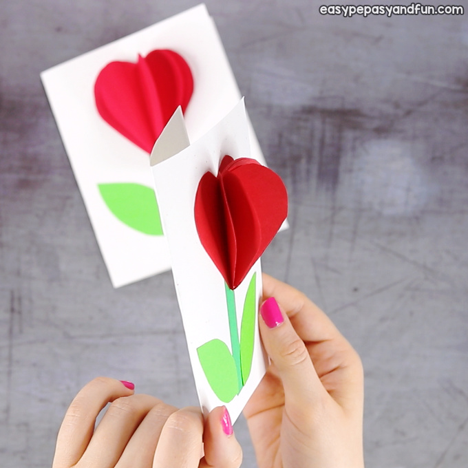 3D Heart Flower Craft for Kids