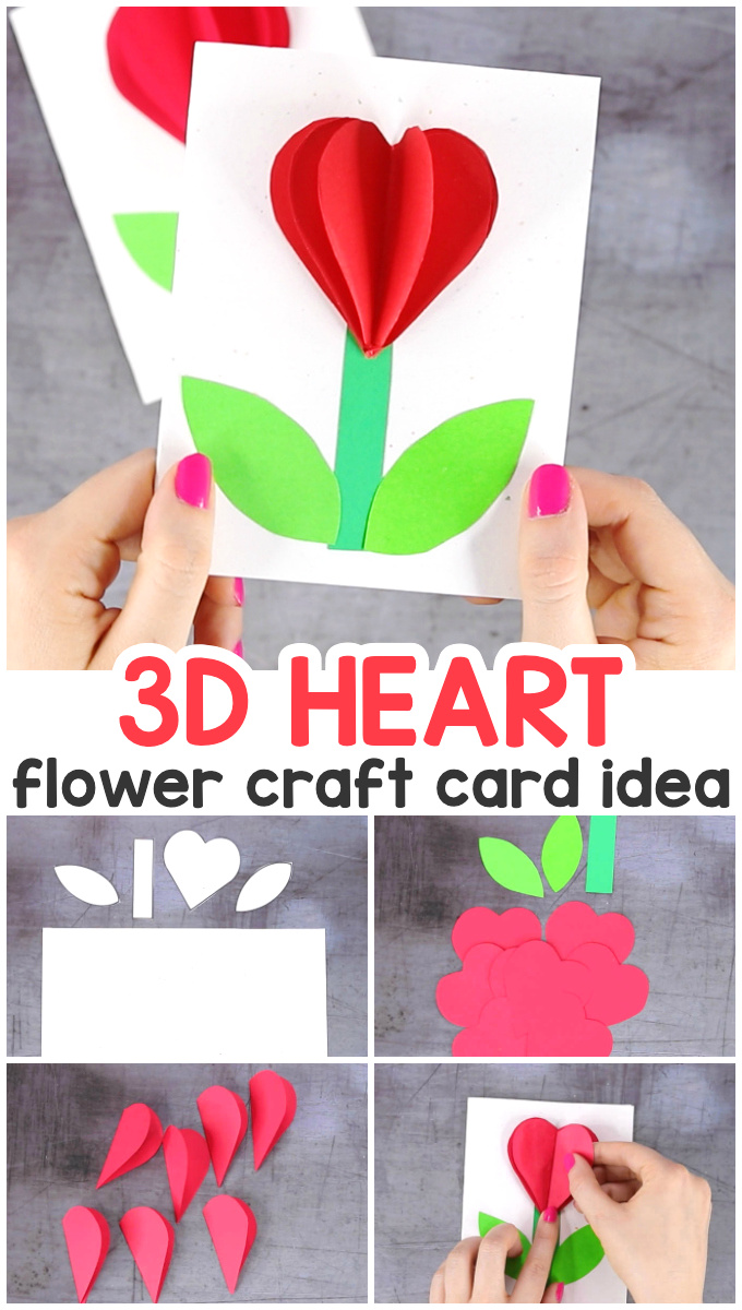 3D Heart Flower Valentines Day or Mothers Day Card for Kids - Easy and quick craft for kids #easypeasyandfun
