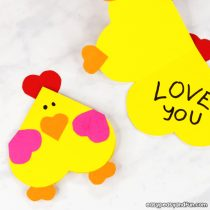 Heart Chicken Craft – Simple Valentines Day Card Idea