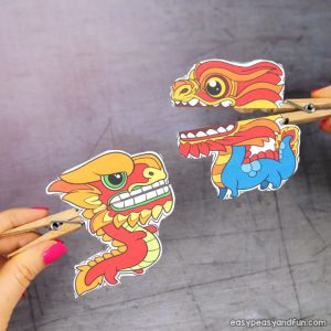 Chinese New Year Dragon Clothespin Puppets